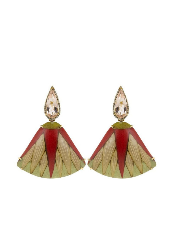 SILVIA FURMANOVICH 18kt rose gold diamond morganite Marquetry Leaf earrings in red