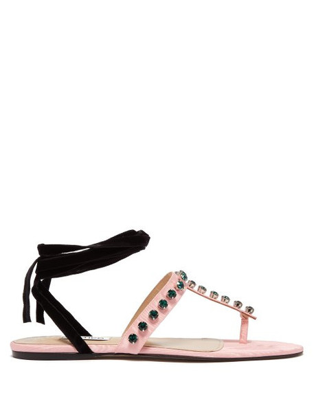 The Attico - Vanessa Crystal Embellished Moire Sandals - Womens - Pink