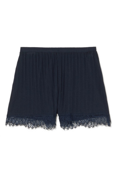 Skin - Bree Lace-trimmed Ribbed Pima Cotton-jersey Pajama Shorts - Navy