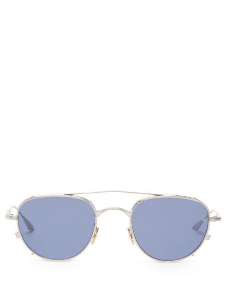 Jacques Marie Mage - Harcourt Double-bridge Round Titanium Sunglasses - Womens - Silver