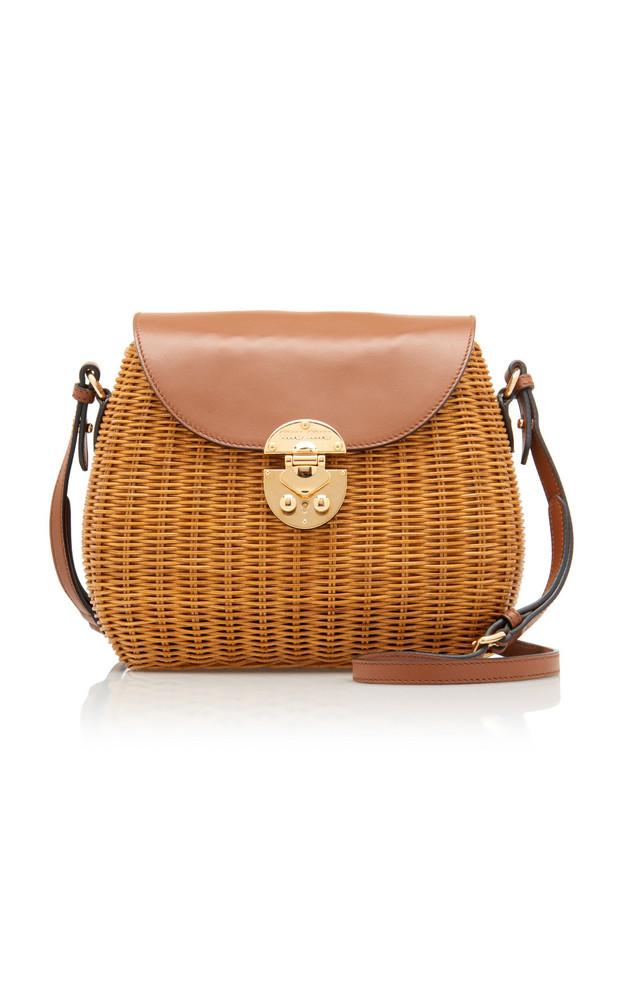 Miu Miu Large Midollino Leather-Paneled Rattan Basket Bag in neutral