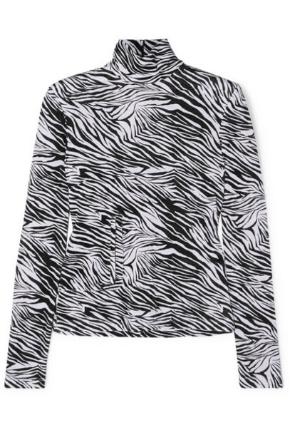 Commission - Fanny Zebra-print Velvet Turtleneck Top - Black