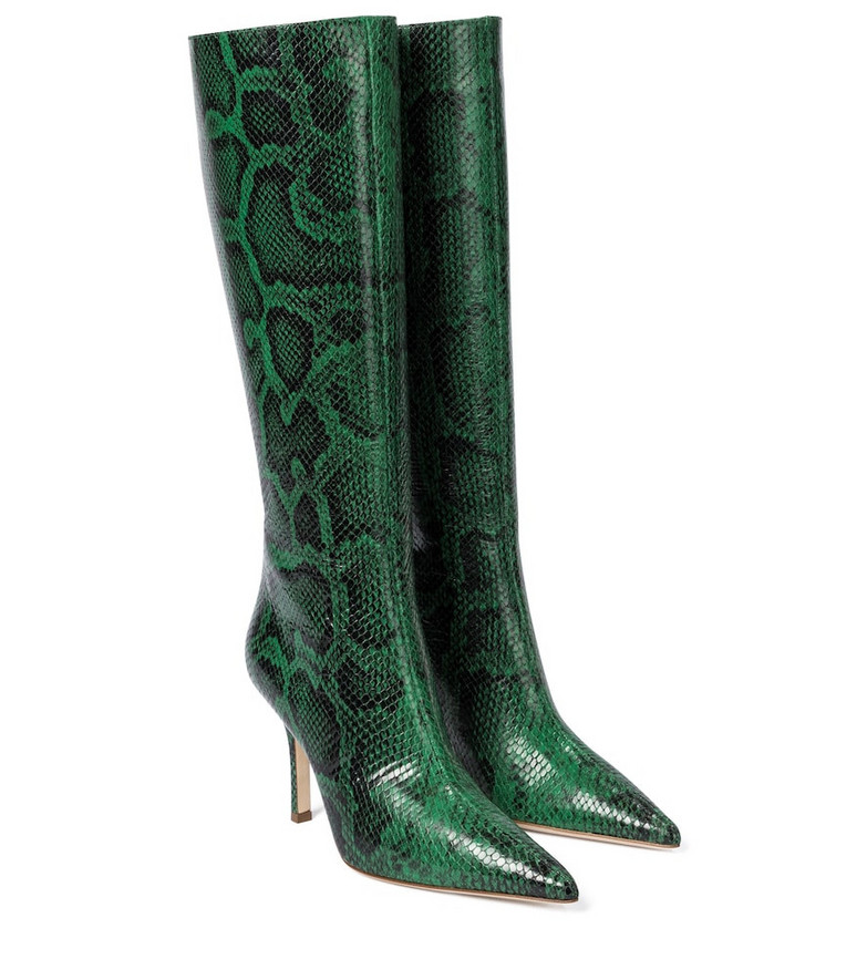 Paris Texas Snake-effect leather knee-high boots in green