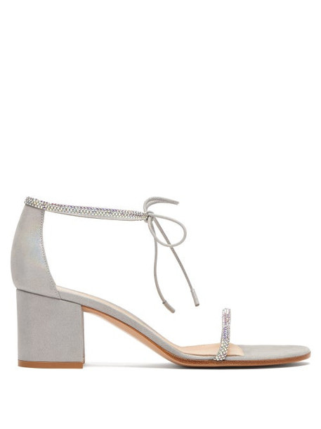 Gianvito Rossi - Aria 60 Crystal-embellished Block-heel Sandals - Womens - Silver