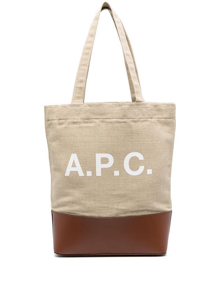 A.P.C. A.P.C. logo-print two-tone tote bag - Neutrals