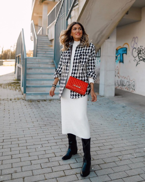 top plaid shirt houndstooth knee high boots white dress midi dress red bag