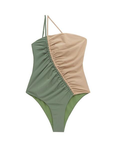 Isa Boulder - Leonard Asymmetric Two-tone Swimsuit - Womens - Green Multi