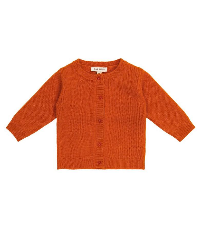 Caramel Baby Driftwood cashmere cardigan in orange