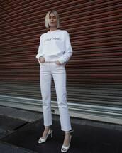sweater,sweatshirt,calvin klein,logo,white sandals,white jeans,straight jeans