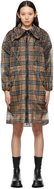 Burberry Beige Mesh Check Vintage Coat