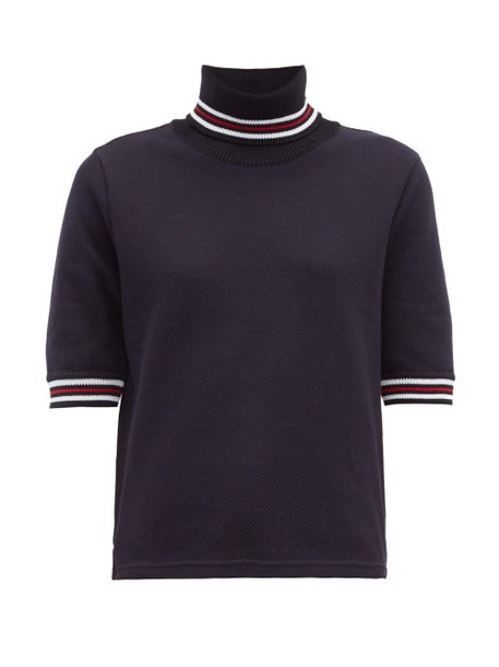 Thom Browne - Striped Cotton Piqué Roll Neck T Shirt - Womens - Navy