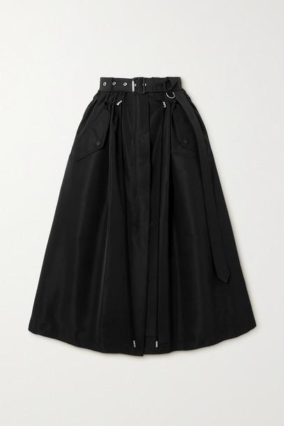 ALEXANDER MCQUEEN - Belted Faille Midi Skirt - Black