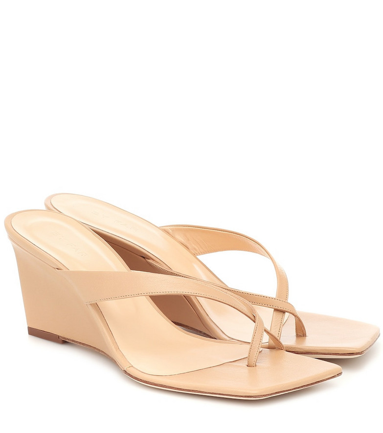 By Far Theresa leather wedge sandals in beige