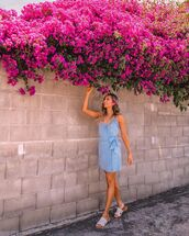 dress,mini dress,blue dress,sleeveless dress,slide shoes,wrap dress,ruffle dress