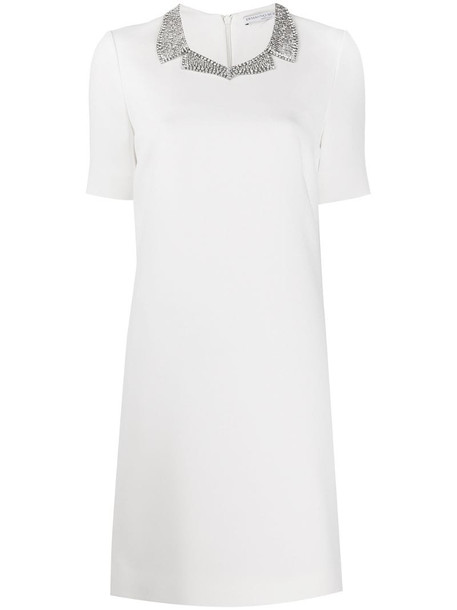 Ermanno Scervino crystal collar dress in white