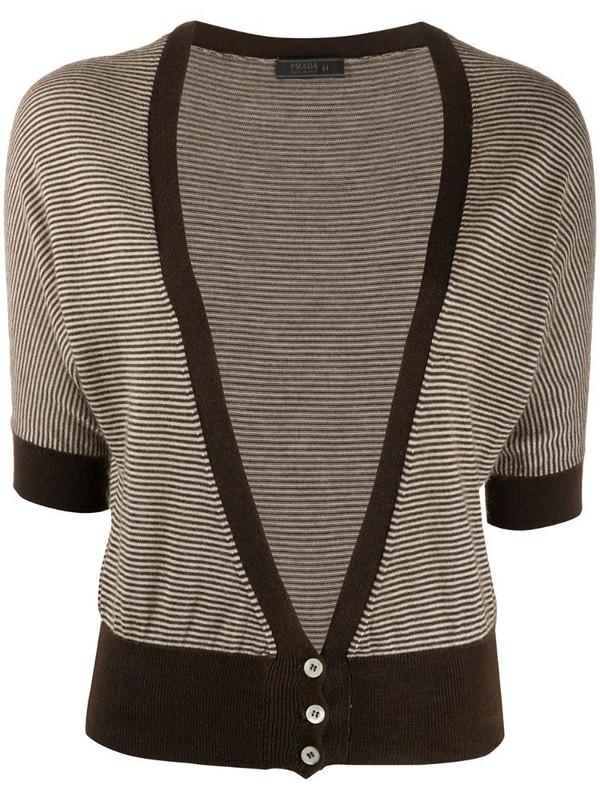 Prada Pre-Owned striped knit cardigan in brown