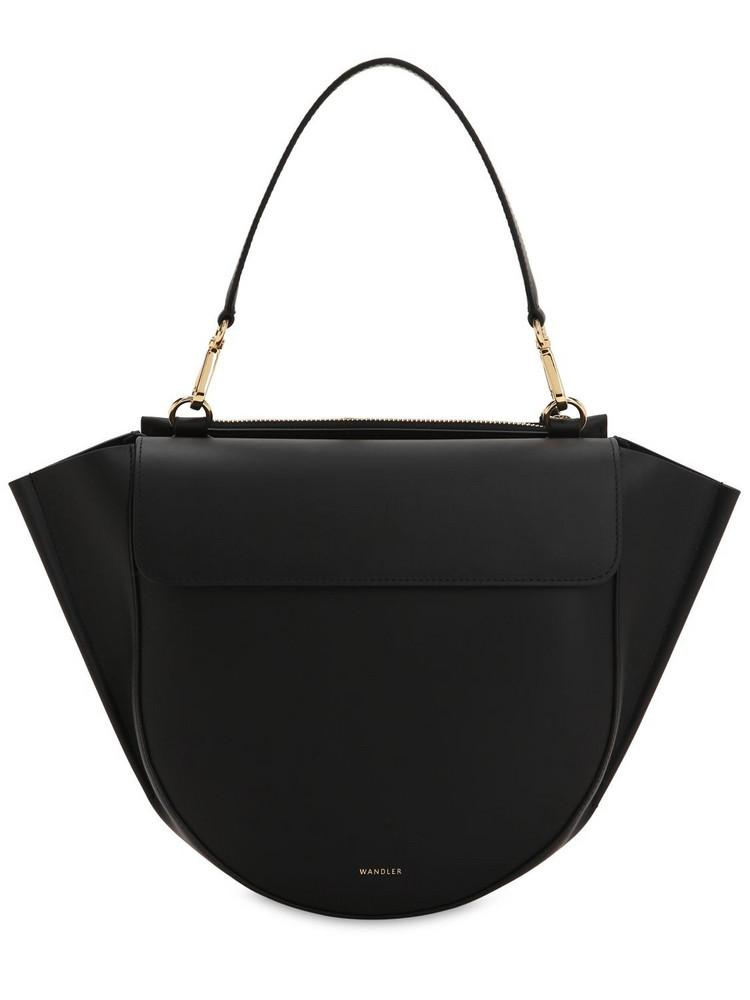 WANDLER Medium Hortensia Leather Shoulder Bag in black
