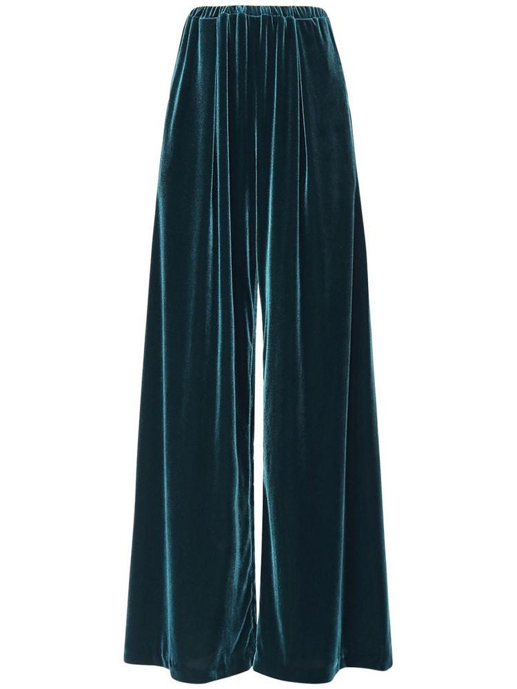 ALEXANDRE VAUTHIER High Waist Stretch Velvet Sweatpants in green