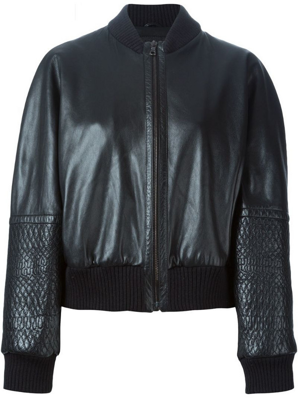 Jil Sander Pre-Owned panelled sleeve bomber jacket in black