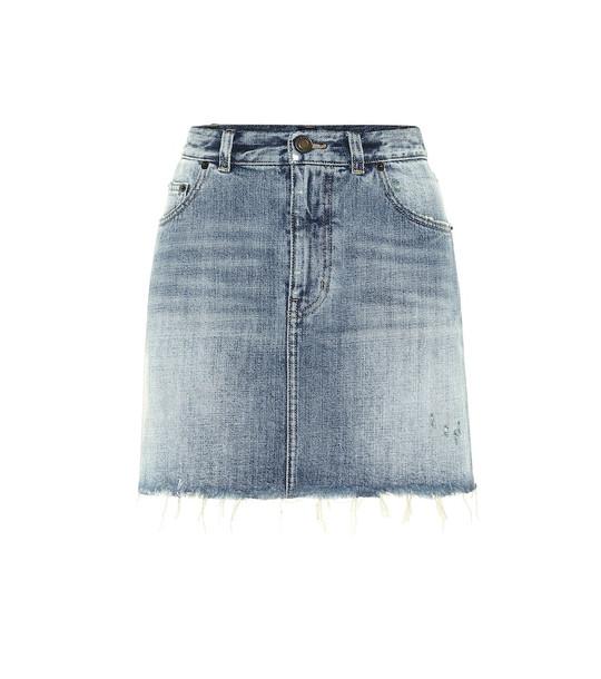 Saint Laurent Denim miniskirt in blue