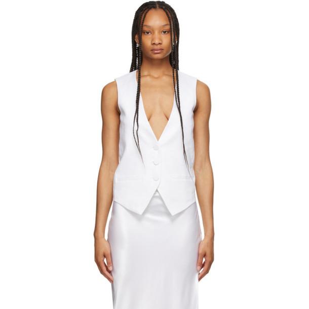 Michael Lo Sordo White Linen Waist Coat Vest