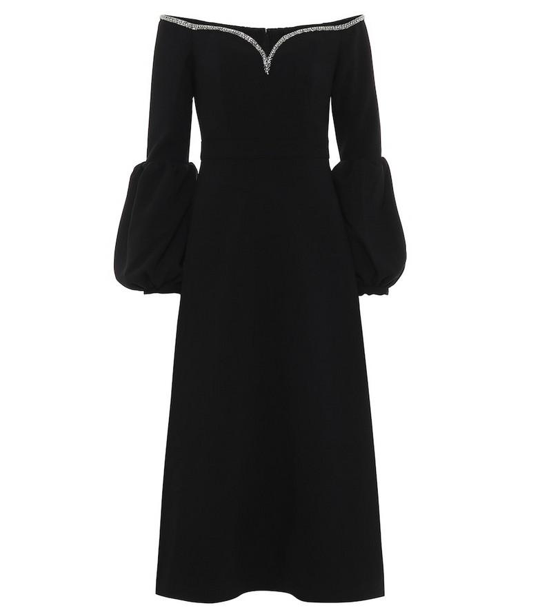 Self-Portrait Crêpe off-the-shoulder midi dress in black