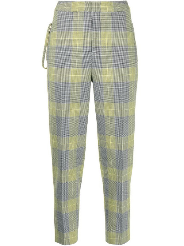 PortsPURE cropped checked trousers in yellow