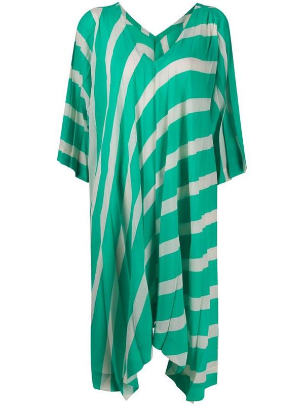 Issey Miyake asymmetric hem striped dress in white