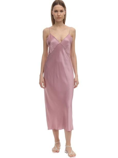 OLIVIA VON HALLE Issa Silk Slip Dress in pink
