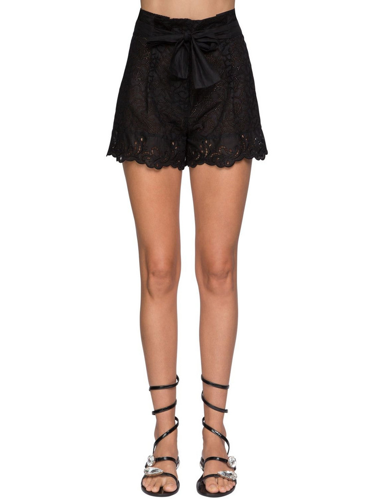 ERMANNO SCERVINO Ruffled Sheer Lace Shorts in black