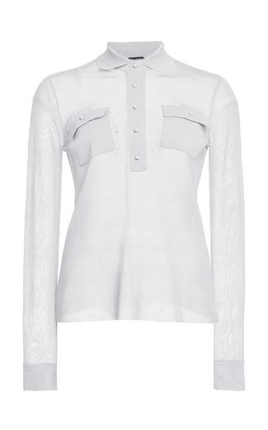Tom Ford Cotton-Blend Knit Shirt in white