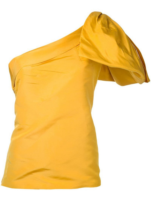 Bambah side bow embellished silk top in yellow