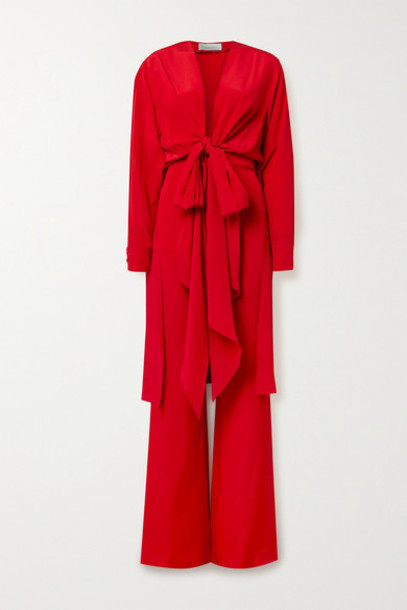Silvia Tcherassi - Heidy Tie-front Silk-blend Crepe De Chine Jumpsuit - Red