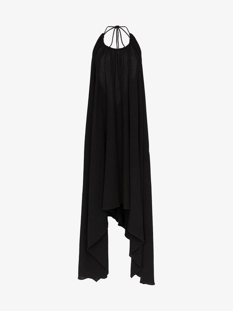 Caravana Takax asymmetric hem halterneck midi dress in black