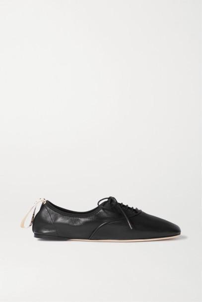 Loewe - Logo-printed Lace-up Leather Ballet Flats - Black