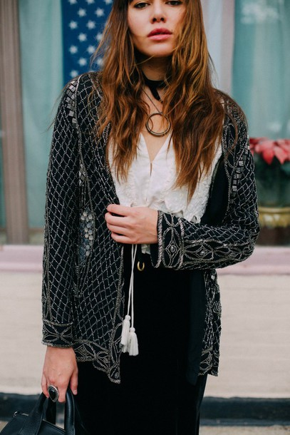 natalie off duty blogger embellished jacket white blouse embroidered black jacket