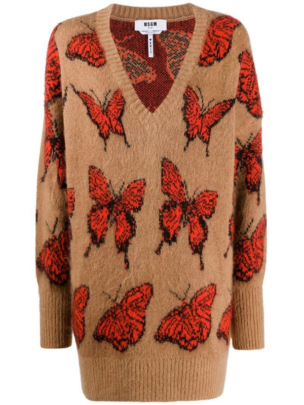 MSGM butterfly pattern jumper in brown