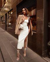 dress,white dress,slit dress,white sandals,blazer,white bag