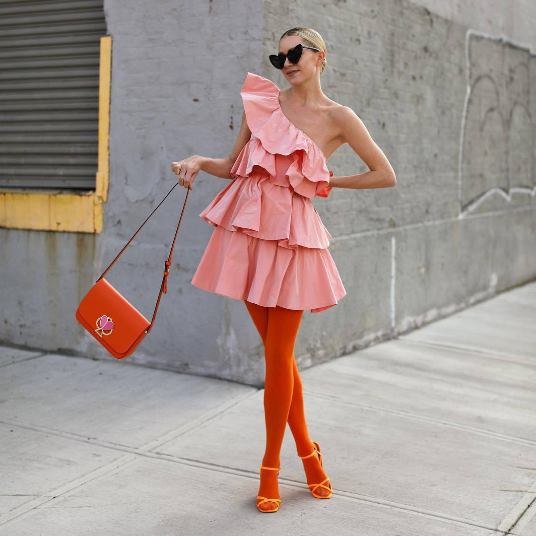 dress mini dress pink dress one shoulder ruffle dress zara sandal heels tights orange bag