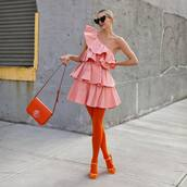 dress,mini dress,pink dress,one shoulder,ruffle dress,zara,sandal heels,tights,orange bag