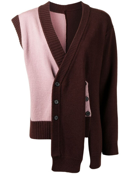Delada asymmetric wool cardigan in brown