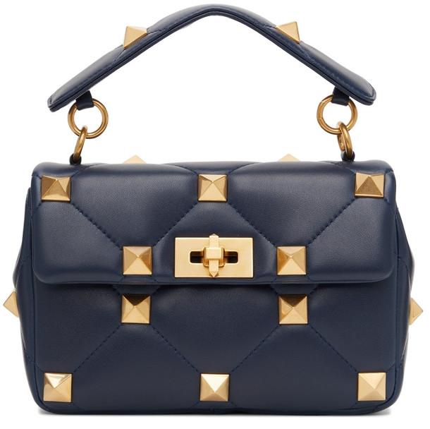 Valentino Garavani Navy Medium Roman Stud Bag