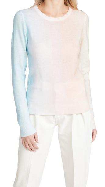 White + Warren White + Warren Cashmere Ombre Painted Crew Neck Sweater in pink / multi