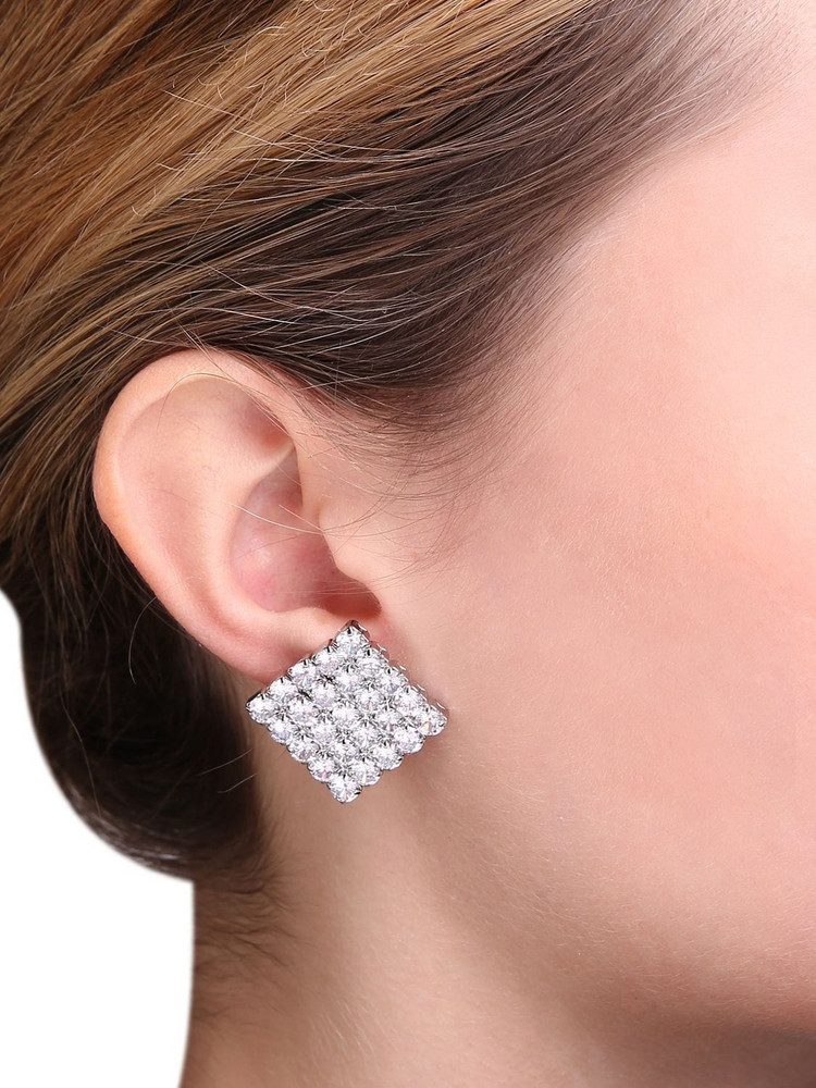 FEDERICA TOSI Victoria Crystal Clip-on Earrings in silver