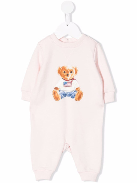 Ralph Lauren Kids teddy bear print romper - Pink