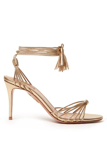 Aquazzura - Mescal 85 Wrap Around Leather Sandals - Womens - Gold