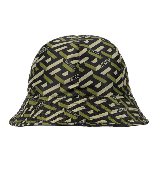 Versace Logo printed bucket hat in green
