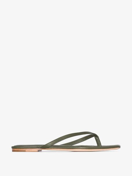 Studio Amelia olive green flat leather sandals