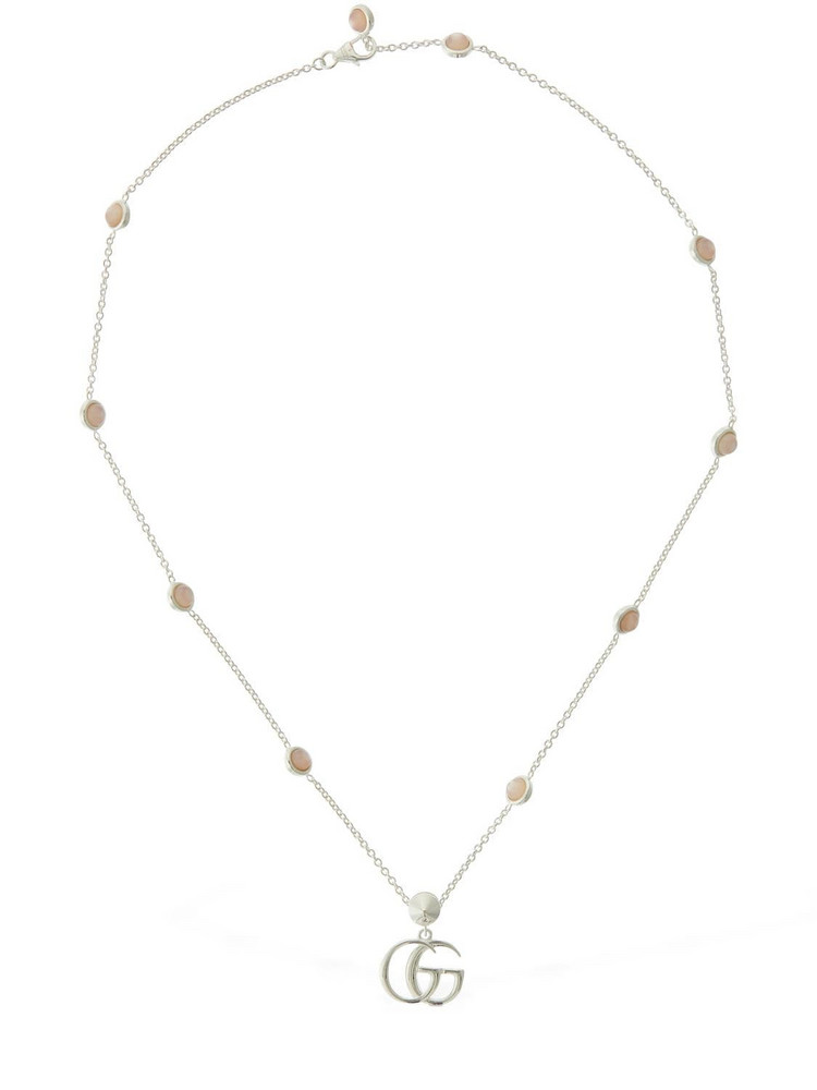 GUCCI Double G Mother Of Pearl Necklace in pink / silver