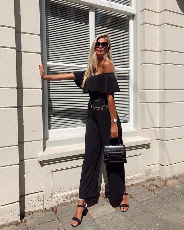 bag black bag handbag black sandals off the shoulder black jumpsuit